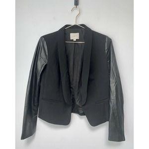 LOFT Blazer faux Leather Sleeve Blazer/ Jacket